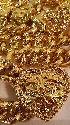 VINTAGE Gold Tone Chain BELT Heart Design FREE SHIPPING