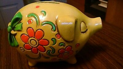 Vintage Hand Painted Yellow Plaster Piggy Bank florescent made in Japan