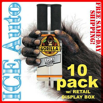 10 PACK GORILLA GLUE 4200102 Gorilla EPOXY Syringe .85 fl oz -25 ml TOUGH CLEAR