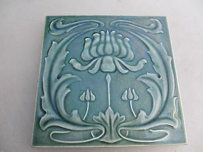 Original Art Nouveau Ceramic Tile Architectural Antique / Vintage Old Floral