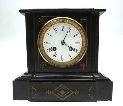 Superb Victorian Antique 8 Day French Marble & Slate Bell Striking Mantel Clock
