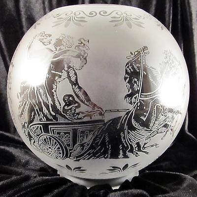 "ROMAN CHARIOT, GLADIATOR SCENE GAS LAMP SHADE 4"" fitter etched glass oil, ball"