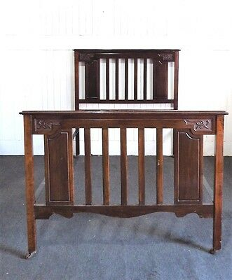 Antique Victorian carved walnut double bed