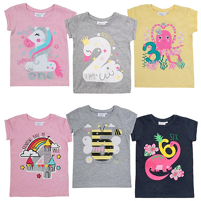 Girls Birthday T-shirt Age 1st 2nd 3rd 4th 5th 6th