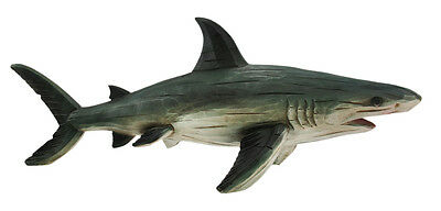 Aged Wooden Look Shark Figure Statue