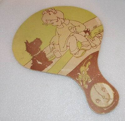 Vintage ADVERTISING PADDLE PAPER FAN Triena Laxative FERN BISEL PEAT Illustrator