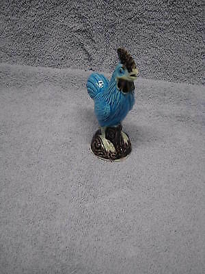 Old Antique Chinese Export Blue Turquoise Aubergine Miniature Porcelain Rooster