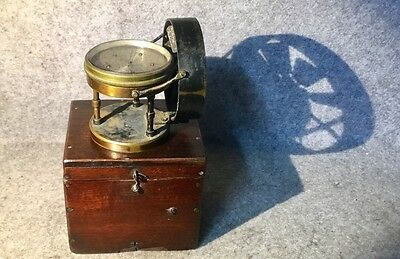 Antique Anemometer 6 Dial wind meter by E Davis Leeds in original mahogany box