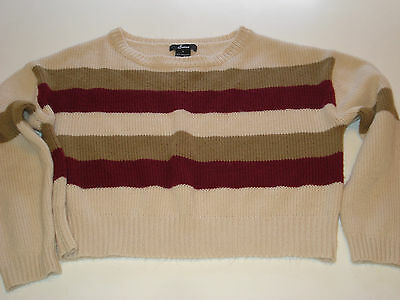 Cropped Beige stripped  Women's size SMALL long sleeve Sweater Nice Condition !