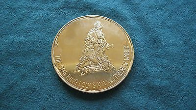 FRENCH  GOLD  PLATED  Bronze  Medallion   *** SUN  KING   LOUIS  the 14th. ***