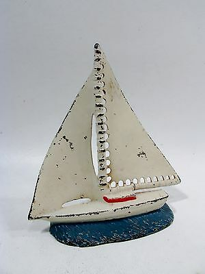 Old USA Painted CAST IRON Single Bookend SAILBOAT