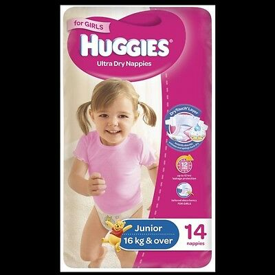 Huggies Nappies Junior Girl 14 Convenience NEW Cincotta Chemist