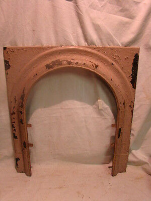 Antique Late 1800's Cast Iron Arched Fireplace Insert Cover Frame D