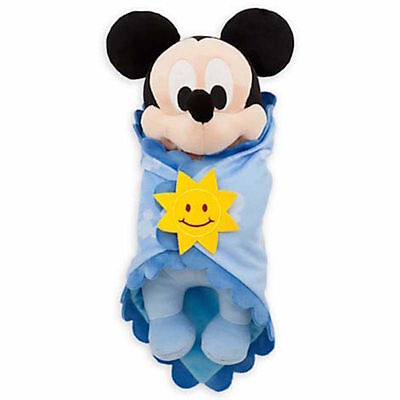 "Disney Parks 10"" Baby Mickey Mouse In A Blanket Plush Toy New With Tag"