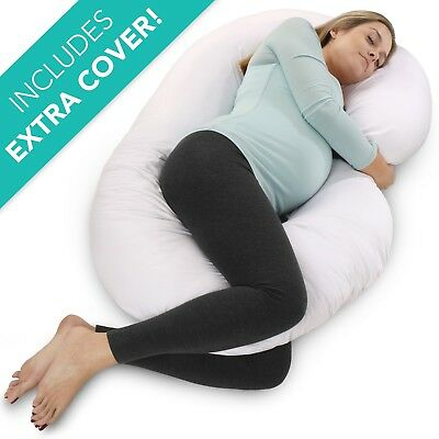 PharMeDoc Full Body Pregnancy Pillow w/ Extra Cover (2 Covers Total) - Maternity