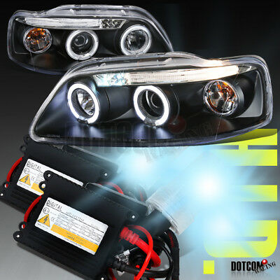2004 2008 Chevy Aveo 45dr Black Led Halo Projector Headlightsh1