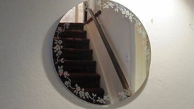 Vintage Frameless Art Deco Round Mirror Floral Etched 17 1/2""