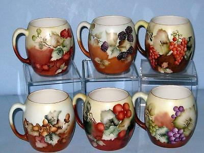 LIMOGES HAND PAINTED BLACKBERRY, GRAPES, STRAWBERRY SET of 6 MUGS Artist Signed