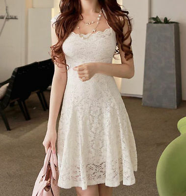 Summer Women Short Sleeve Party Cocktail Evening Bodycon Mini Lace Dress