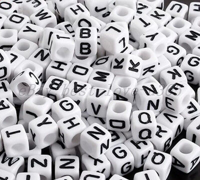 100Pcs Acrylic SINGLE LETTER A-Z White CUBE ALPHABET Spacer BEADS 7MM Findings