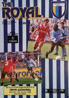 Reading v Crewe - League Division 3 Official Football Soccer Programme 1989 1990
