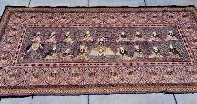 "Vintage Burmese Kalaga Tapestry Extra Lrg Wall Size (110"" X 64"") Pictorial"