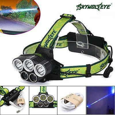 SKYWOLFEYE 5X CREE XML T6 LED 40000LM Headlamp Rechargeable Headlight Torch PK
