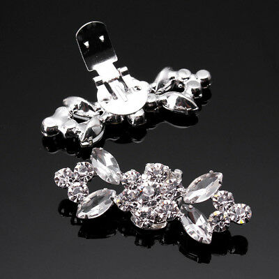 US 2pcs Crystal  Crystal High Heel Shoe Charm Clips Rhinestone Wedding Diamante