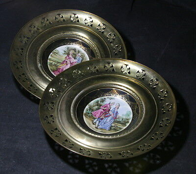 Pair of Vintage Regency Signed Small Plates – Encased in Brass Frame