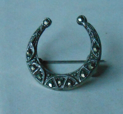 Vintage French 900 Silver Marcasite Horseshoe Crescent Pin Brooch