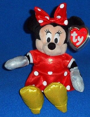 367fbe99ef1 TY DISNEY MINNIE MOUSE RED SPARKLE DRESS BEANIE BABY - MINT with MINT TAGS