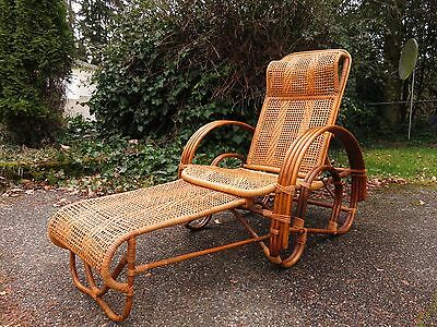 Vtg FRENCH CHAISE LOUNGE CHAIR Bamboo Wicker MID CENTURY ART DECO Daybed PATIO