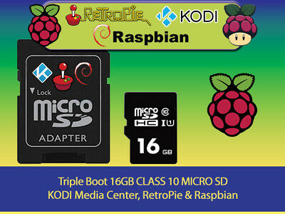 TRIPLE BOOT RETROPIE / KODI / Raspbian for Raspberry Pi PreLoaded Micro SD