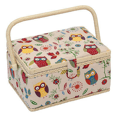 NEW HobbyGift MRM/29 | Owl Print Sewing Basket | 18½ x 26 x 15cm | FREE SHIPPING