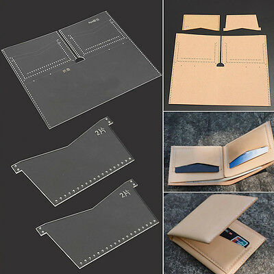New Clear Acrylic Leather Template Set for Wallet Patterns Leathercraft DIY Tool