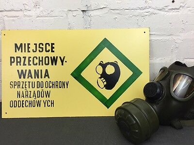 Vintage Warning Sign ' Gas Masks Storage' Made in Poland Industrial Salvage