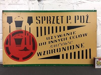 Vintage Enamel Metal Warning Sign ' Fire Equipment Storage' Made in Poland