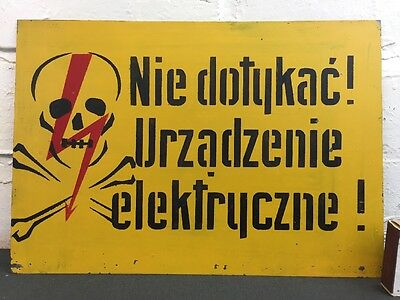 Vintage Warning Enamel Sign Made in Poland 'Do Not Touch, Electric Appliance'