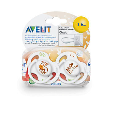 Avent Silicone Soother Animal 0-6 Months BPA Free 2 Pack NEW