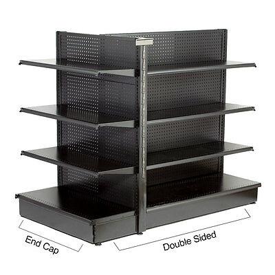 """Double Sided Black Metal Pegboard Gondola Shelving Starter 48""""Wx36""""Dx54""""H NEW"""