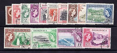 DOMINICA 1954 SET TO 24c SG 140-153 FINE USED.