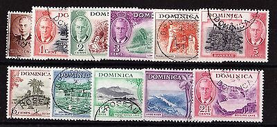 DOMINICA 1951 SET TO 24c SG 120-130 FINE USED.