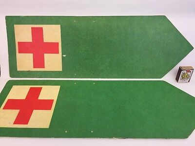 Vintage Red Cross First Aid Point Sign Directional Military Polish Signage