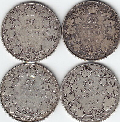 4 x Canada Sterling Silver 50-Cent Coins — 1910 – 1913