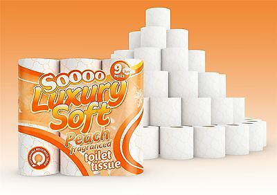 45 Rolls of So Soft Peach Scented 3 Ply Pure Pulp Toilet Tissue Paper