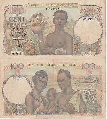 French West Africa 100 Francs Banknote 27.12.1948 Fine Condition Cat#40