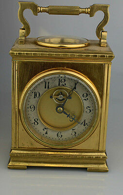 Antique French Brass Carriage Key Wind Clock For Parts