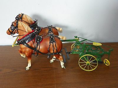 BREYER SR1987 Belgian Clydesdale Drafter Full Leather Harness 2-Bottom Plow Set