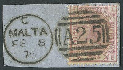 GB used in Malta Z36 2½d Rosy-Mauve Pl2 LE, tied to piece with A25 duplex