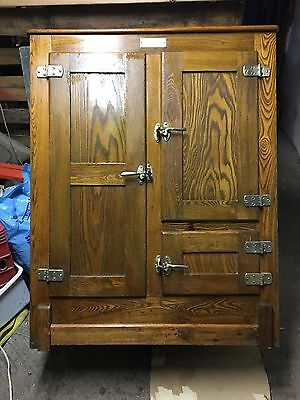 Antique Oak Ice Box With Brass Handles